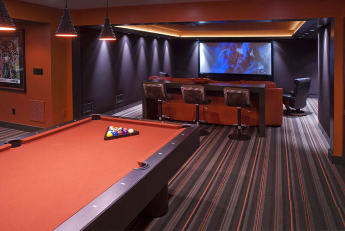 Media Room Game Room Interior Design Chestnut Hill Newton MA