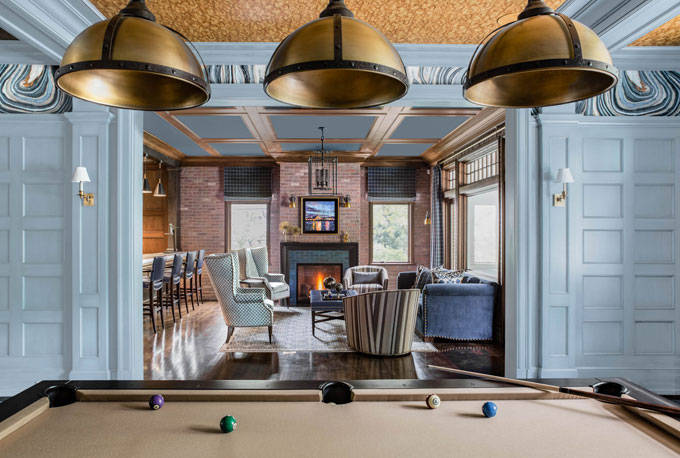 Blliard Game Room Interior Design Wellesley
